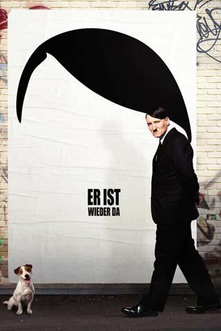 Poster do filme com fundo branco e silhueta de Hitler