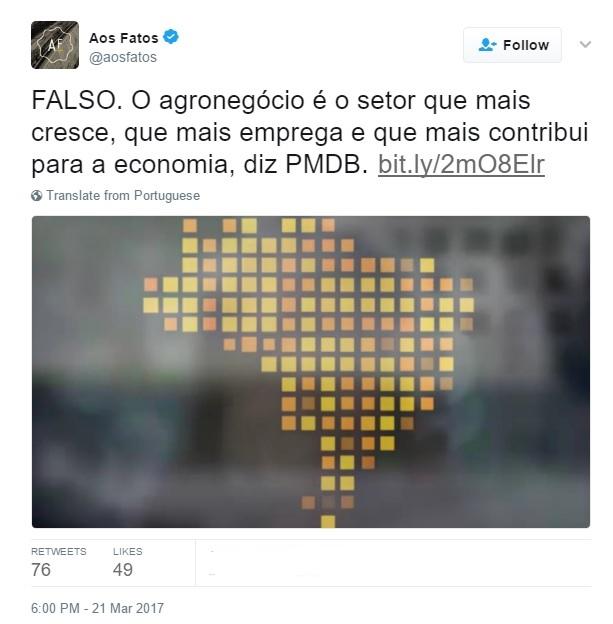 Imagem de um post no Twitter da agência de checagem Aos Fatos com um mapa estilizado do Brasil feito com quadrados amarelos